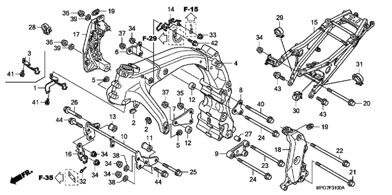 Genuine Honda CB600F Hornet 2008 Frame *Y171m* (Y171m Mat