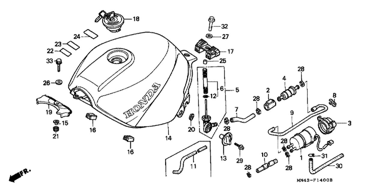 Genuine Honda Cbr600f 1990 Fuel Pump Assembly Part 1 16710mt6003 773658