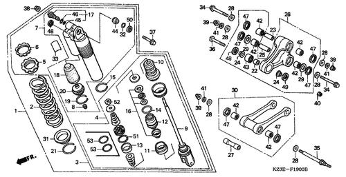 genuine honda cr250r 2000 cushion arm sub assembly part 26: 52465kz4j20  (801635)
