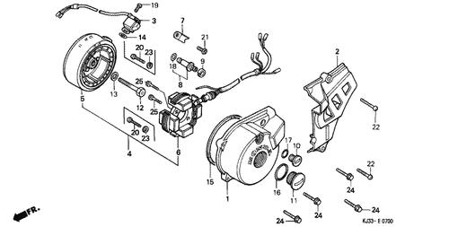 genuine honda tl125 1988 pulse generator assembly part 3: 30300kj2671  (1495065)