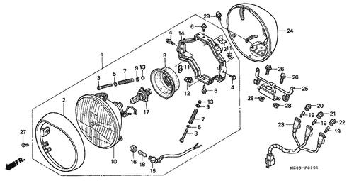 genuine honda valkyrie 1999 headlight assembly (12v 60/55w) (stanley) part