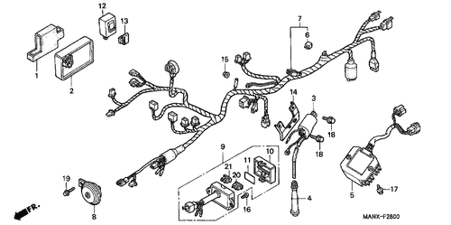 Genuine Honda Dominator 1996 Wire Harness Part 8 32100man710
