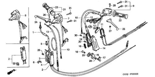 Genuine Honda GYRO X Standard 2005 Rear Brake Second Cable