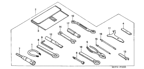 Genuine Honda Rc51 2003 Tool Set Part 2 89010mcf000 2045390