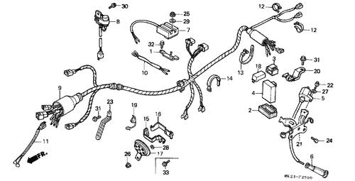 Genuine Honda XR600R 1985 Wire Harness Part 9: 32100MK2740