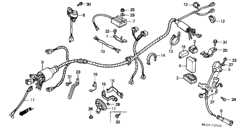 Genuine Honda XR600R 1986 Wire Harness Part 9: 32100MK2740