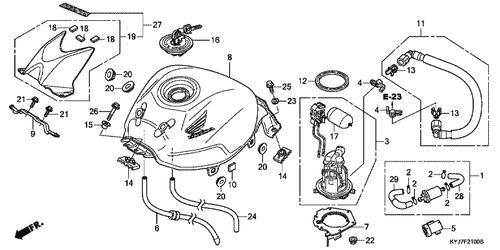 Genuine Honda Cbr250r 2013 Fuel Pump Assembly Part 3 16700kyj901