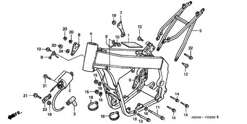Genuine Honda Cr125r 1998 Head Hanger Bracket Part 6 50407kz4j00 148199: 97 Honda Cr125r Engine Diagram At Sergidarder.com