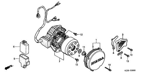 genuine honda cr250r 2001 flywheel typea c  generator assembly part 7:  31100kz3j31 (235025)