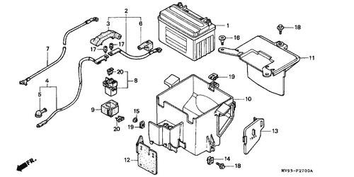 genuine honda cbr600f3 1996 starter battery cable part 2: 32401mv9000  (475973)