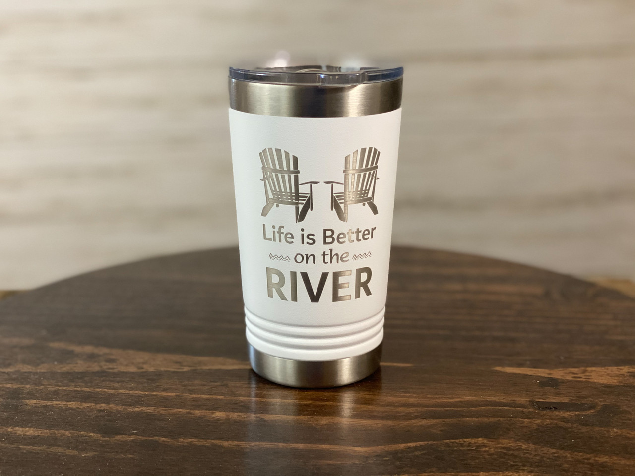 Life is Better on the River  - 16 oz Polar Camel Insulated Pint