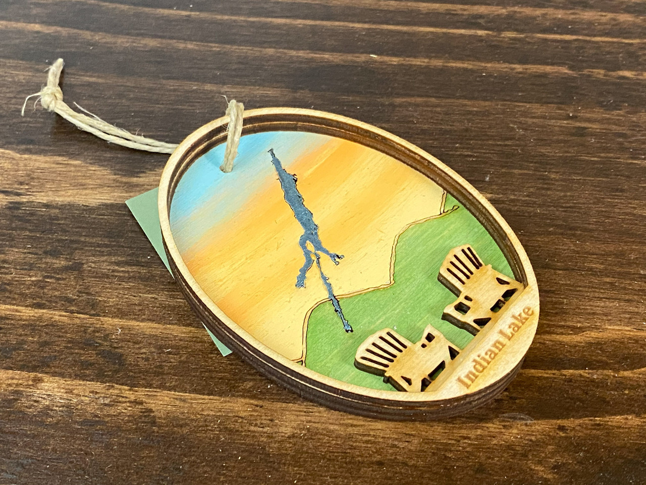 Indian  Lake - Three Layer Ornament - Hand Painted