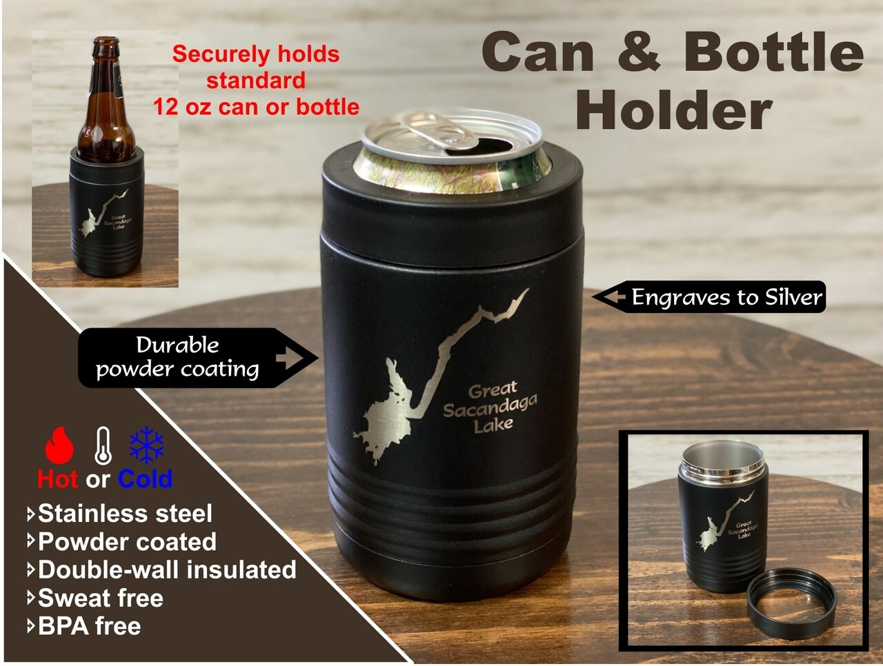 Great Sacandaga Lake - Insulated Can and Bottle Holder