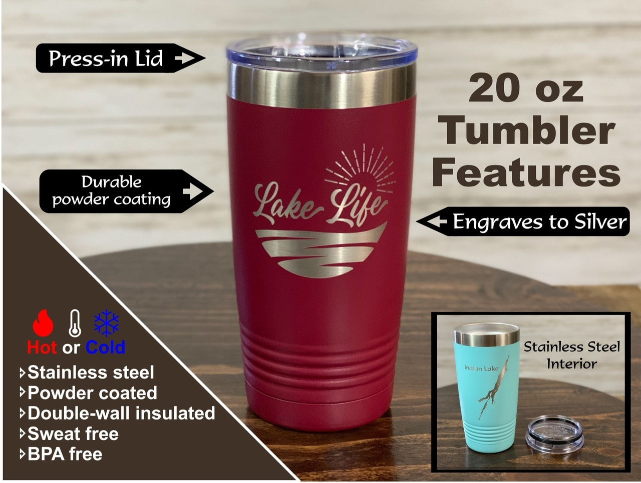 Mountains Lake George -  20 oz  Insulated Tumbler