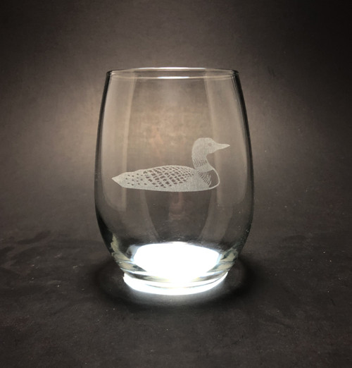 Loon  - 15 oz Stemless Wine Glass