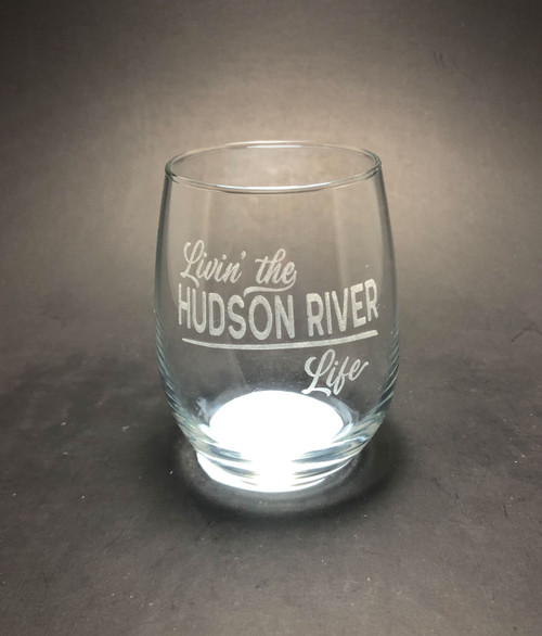 Livin' the Hudson River Life  - 15 oz Stemless Wine Glass