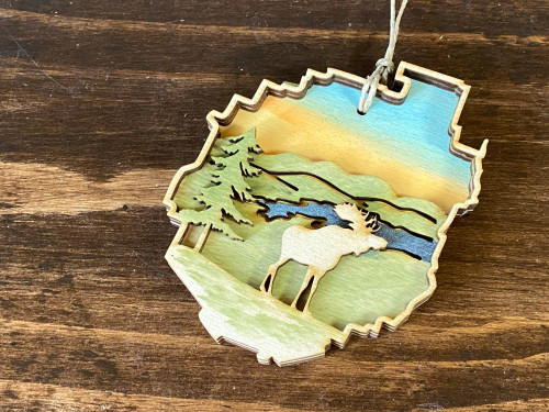 Adirondack Park with Moose - Three Layer Ornament - Hand Painted
