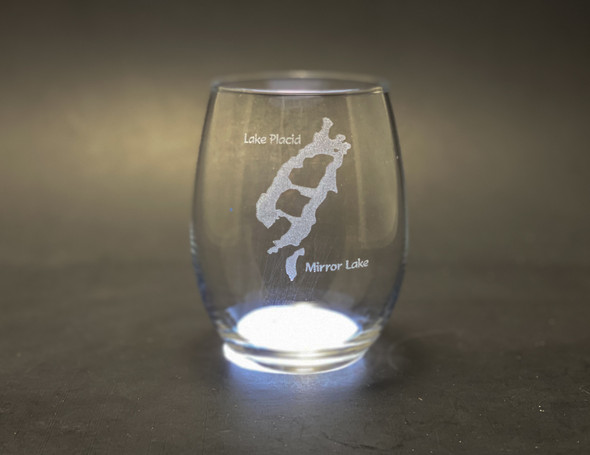 Lake Placid and Mirror Lake - Stemless Wine Glass