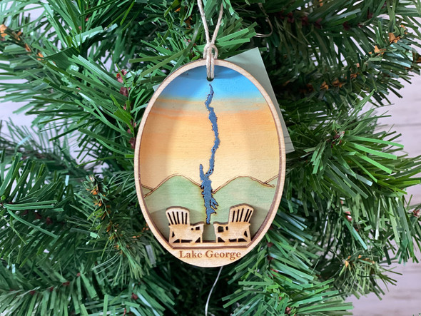 Lake George  - Three Layer Ornament - Hand Painted