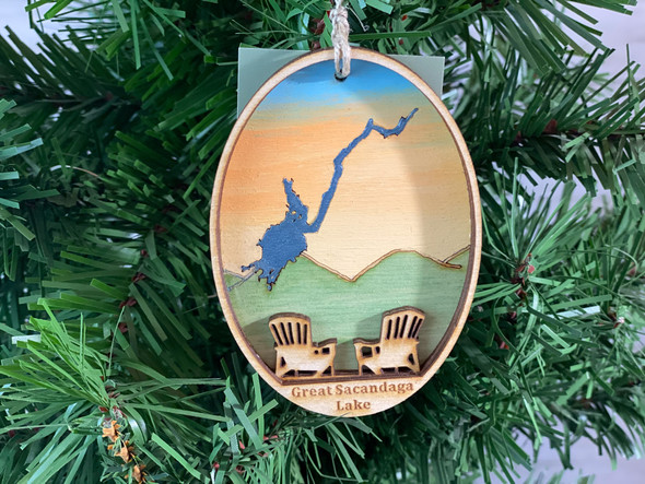 Great Sacandaga  Lake - Three Layer Ornament - Hand Painted