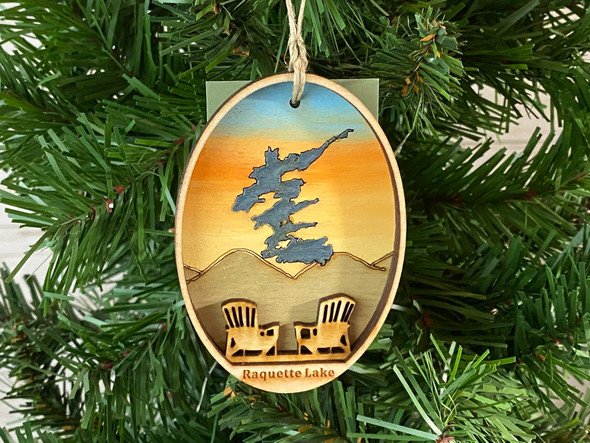Raquette Lake - Three Layer Ornament - Hand Painted