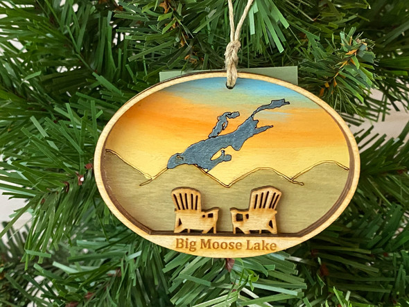 Big Moose Lake  - Three Layer Ornament - Hand Painted