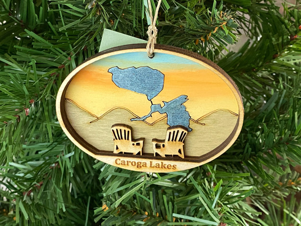 Caroga Lakes  - Three Layer Ornament - Hand Painted