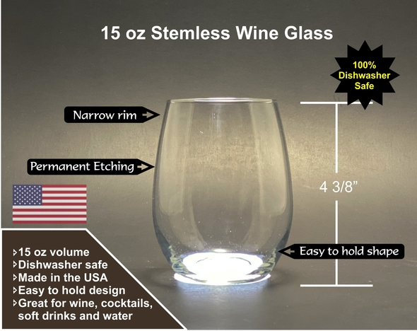 Russell Sage Alumnae - New Logo - 15 oz Stemless Wine