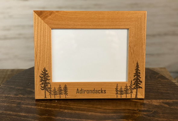 Adirondacks with Trees -  Red Alder Picture Frame