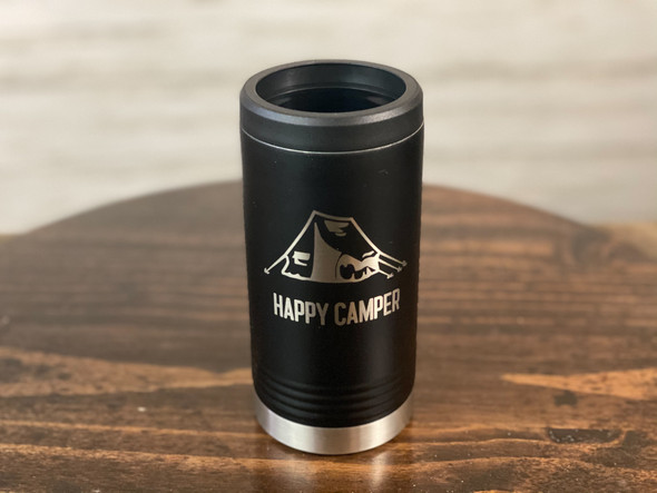 Happy Camper with Tent  - Skinny Can  Holder