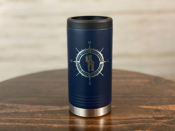 Hiker with Compass - Skinny Can  Holder