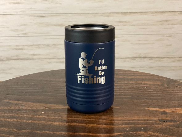 I'd rather be fishing - 12 oz Can and Bottle Holder