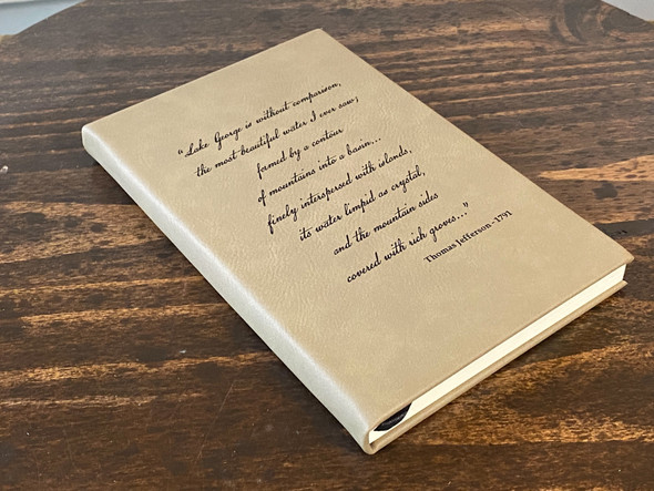 Thomas Jefferson Quote - Lake George - Light Brown Leatherette Journal