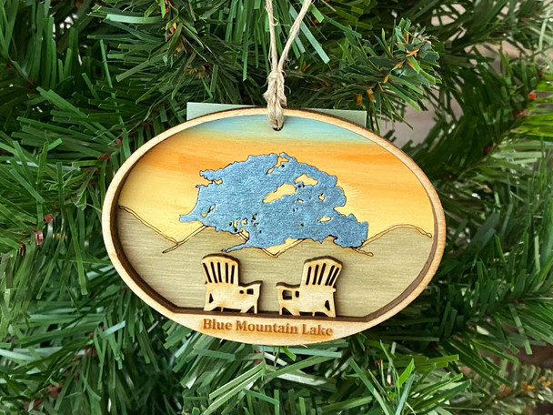 Blue Mountain Lake - Three Layer Ornament - Hand Painted