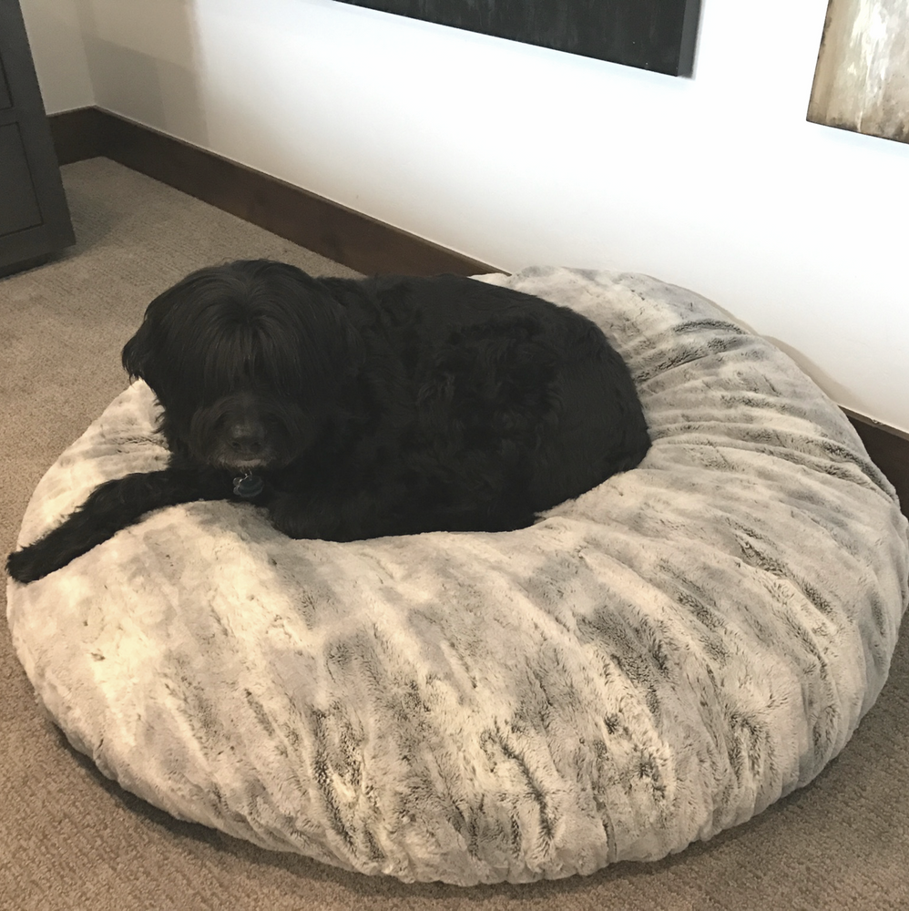 "This is the world Famous Cowboy. He just loves the soft fell of SILVER FOX. This is a 60"" cover & it fits a Costco Dog Bed."