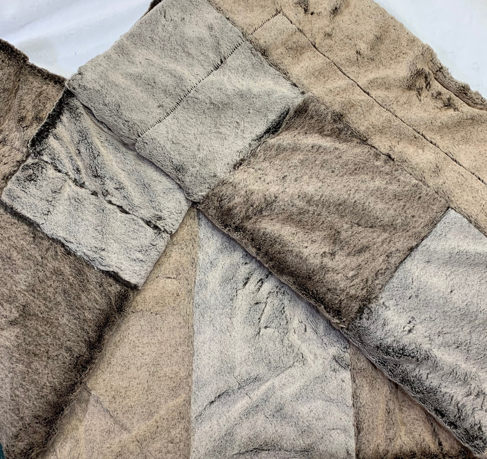 "PW Frosted Mocha w/ Dark Chocolate Back, 60""x74"" Patchwork Blanket"