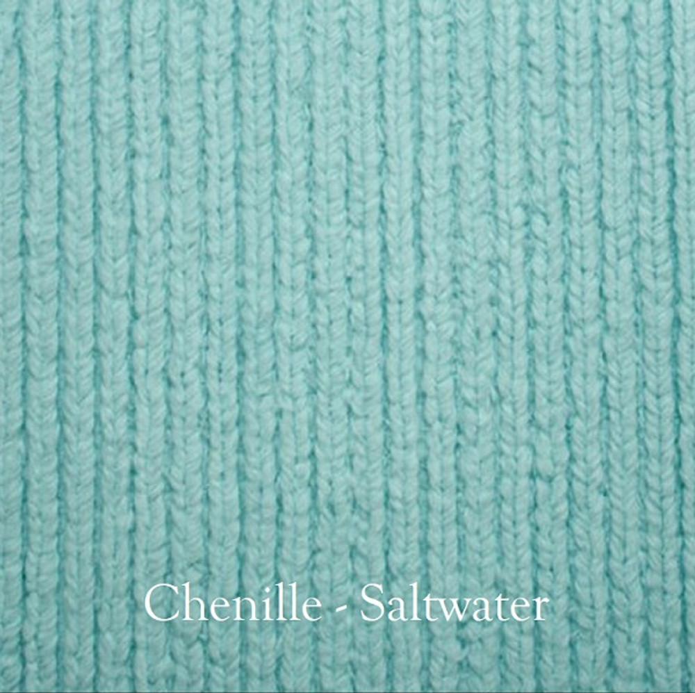 "*Chenille - Salt Water Blue:  30""x40"" Blanket *QS"