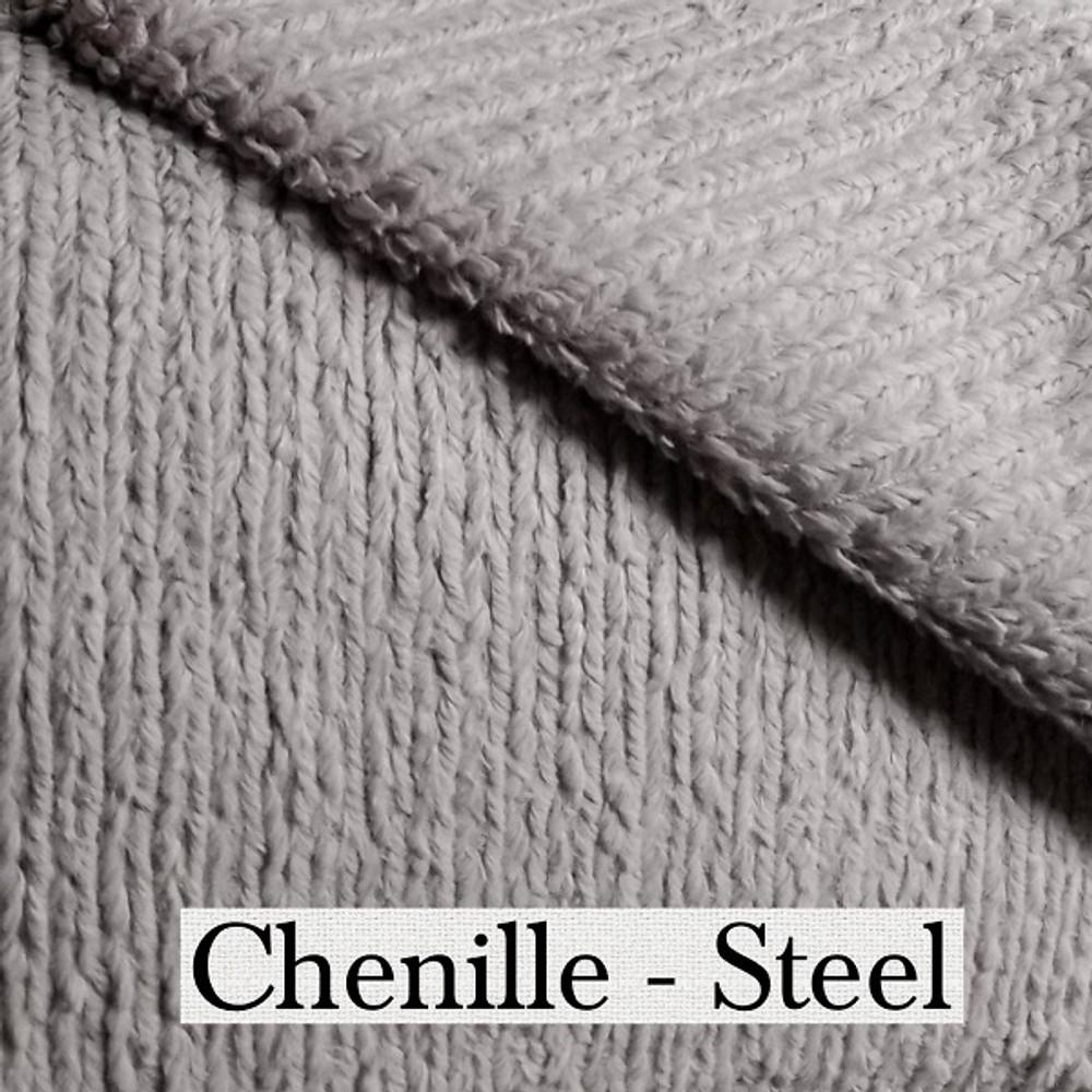 "*Chenille - Steel Gray:  30""x40"" Blanket *QS"