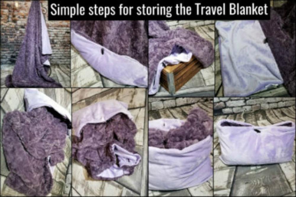 First, Locate the toggle button & pocket. Second, Pull out the pocket that is tucked inside the blanket. Third, with the pocket out, and using your fingers, start gathering and stuffing the blanket into the pocket. Forth, flatten, squish or fluff to make desired pillow shape. Last, fasten toggle through the buttonhole.