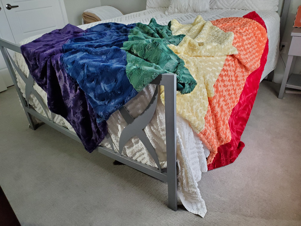 This is a SAMPLE Blanket made as a prototype.  Actual blanket will be 6 pieces of different colored fabric made from the same collection. email me with requests for customization.