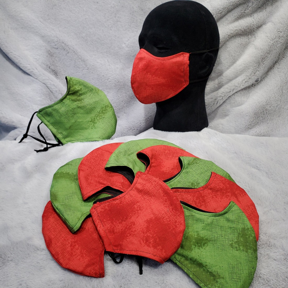 Shabby-Chic in Red and Green.  Solid black is on the back side of mask.  One Solid color on the front.