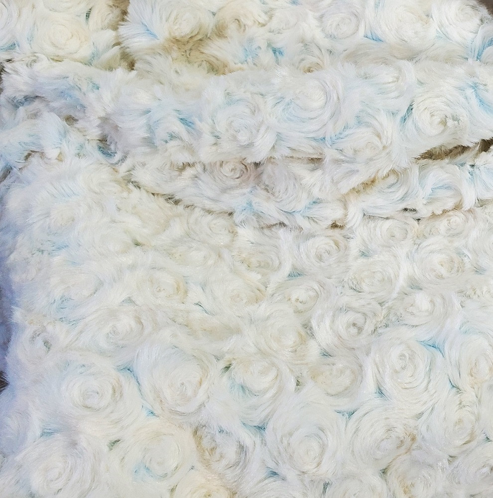 """A 30""""x40"""" Frosted Roses Blue Blanket, w/Elephants *DEAL"""