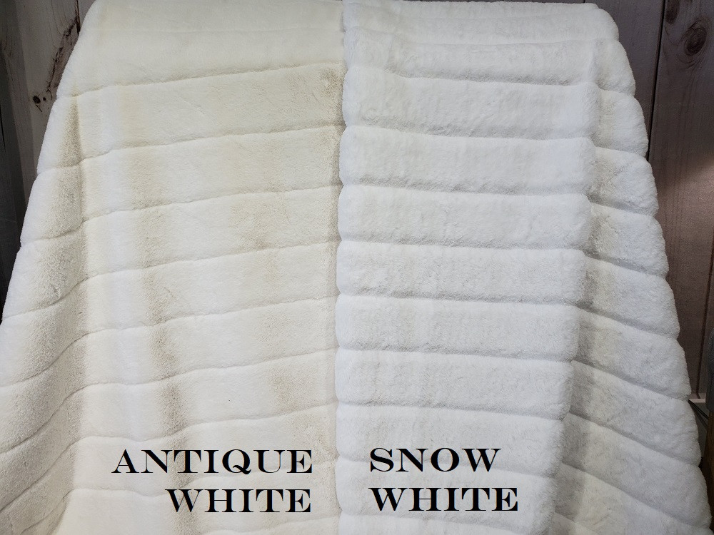 "A 55""x65"" Chinchilla Snow White Blanket, w/White Minky back *DEAL"