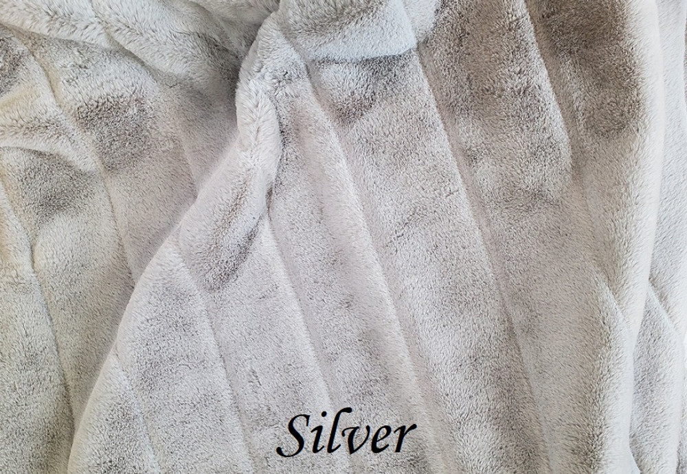 "A 62""x70"" Chinchilla Silver Blanket, w/ DIVINE Fabric *DEAL"