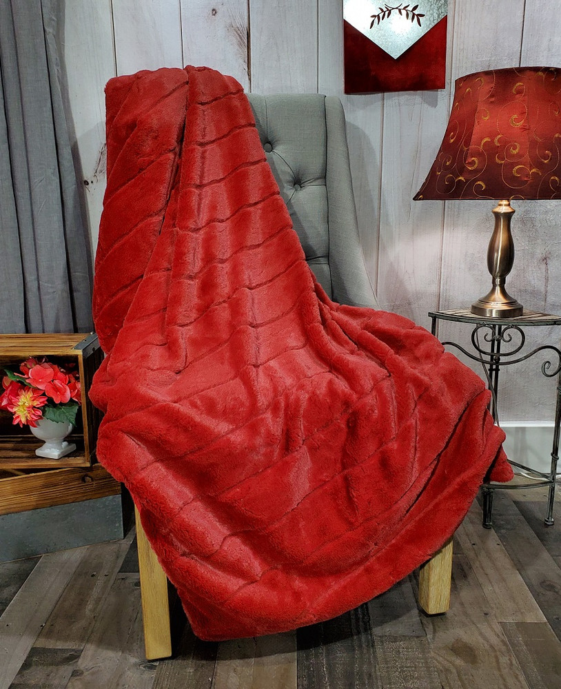 """A 50""""x63"""" Chinchilla Ruby Red Blanket, w/DIVINE Fabric *DEAL"""