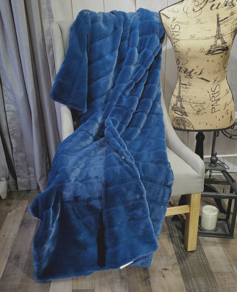 "A 40""x62"" Blue Chinchilla Blanket, w/ DIVINE Fabric *DEAL"