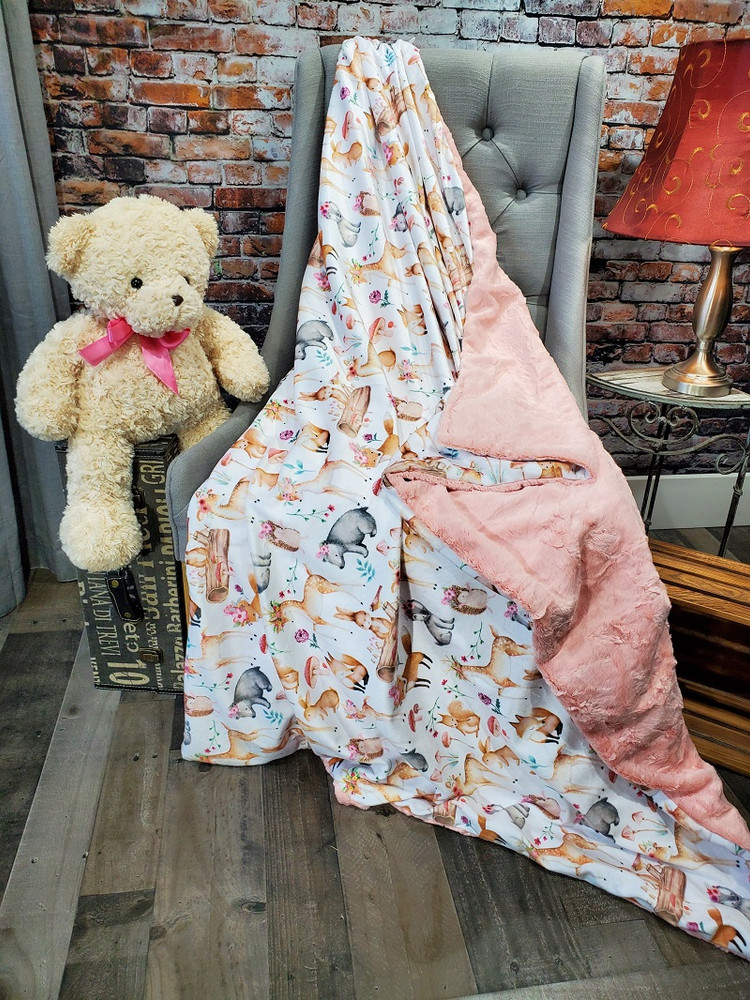This is an example of a finished Fairy Tale blanket with Pink Grapefruit in Bella on the back side