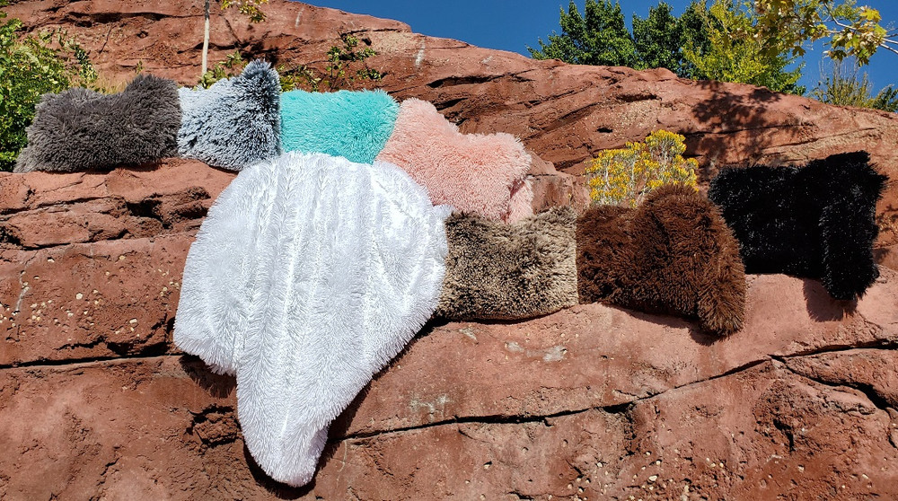 This is an example of some finished SHAG Blankets and Travel Blankets.