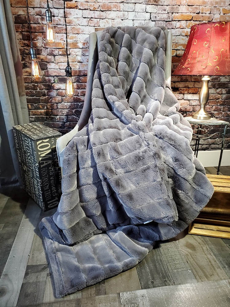"""This is an example of a Large finished """"Shadow Gray"""" blanket. It includes the DIVINE Fabric upgrade."""
