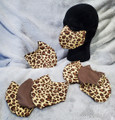 Cheetah print with a dark brown on the back side.